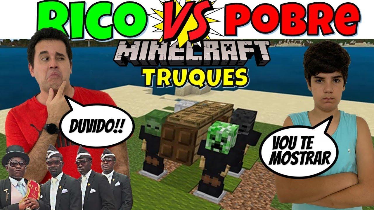 RICO VS POBRE MINECRAFT TESTANDO TRUQUES DO TIK TOK #5 | PEDRO MAIA