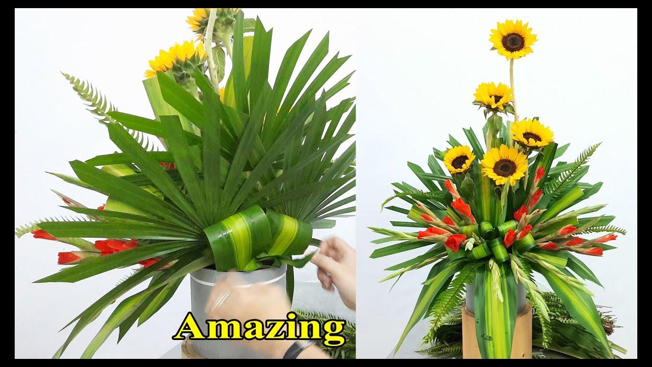 CẮM HOA BÀN THỜ bình hoa Lay ơn kết hợp hoa hướng dương tuyệt đẹp| Hướng dẫn cắm hoa