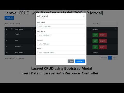 Laravel CRUD: Bootstrap Modal: Insert Data into Database (POP UP Modal)
