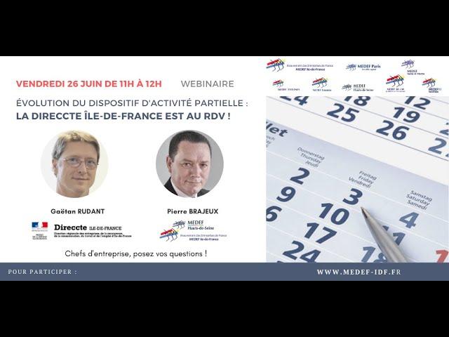 Évolution du dispositif d'activité partielle - La Direccte Île-de-France est au RDV !