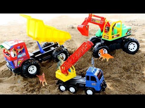 รีวิวของเล่น ไดโนเสาร์ ใช้ รถแม็คโคร รถเครน หาเพื่อนที่หายไป