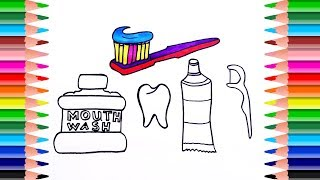 Toothbrush Toothpaste Mouthwash  and teeth. How to draw Oral hygiene tools. Art Colors for Kids
