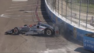 Verizon IndyCar Series 2017. FP1 Firestone Grand Prix of St. Petersburg. Will Power Crash