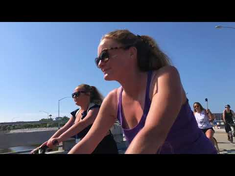 Fourth of July bike parade ride along the coast of oceanside California