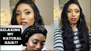RELAXING MY NATURAL HAIR?| LACE FRONTAL INSTALLATION | LUVIN HAIR REVIEW