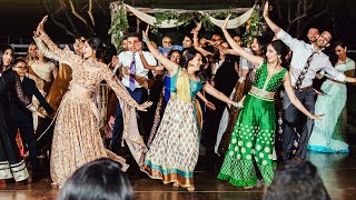 Family and friends of amish megna performed this bollywood dance performance at their indian wedding reception saddlerock ranch in malibu, ca. // song...