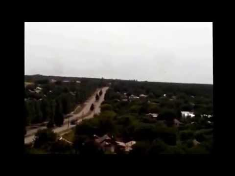 AA  BUK  vehicle Pro Kremlin fighters going from Torez to Snizhne