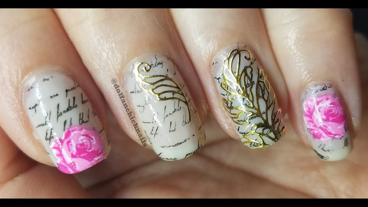 Love letters, Roses, and Quills using 3D nail art stickers - YouTube