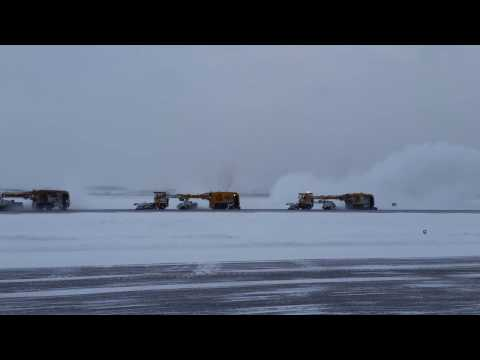 Finnish Snowhow at work! KLM take-off after a heavy snow storm at Helsinki Airport