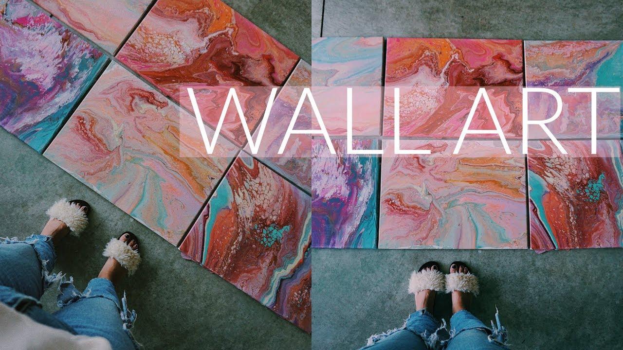 DIY WALL ART | ON A BUDGET | ACRLYIC FLUID PAINT & DIY WALL ART | ON A BUDGET | ACRLYIC FLUID PAINT - YouTube