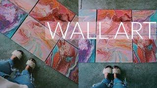 DIY WALL ART | ON A BUDGET | ACRLYIC FLUID PAINT