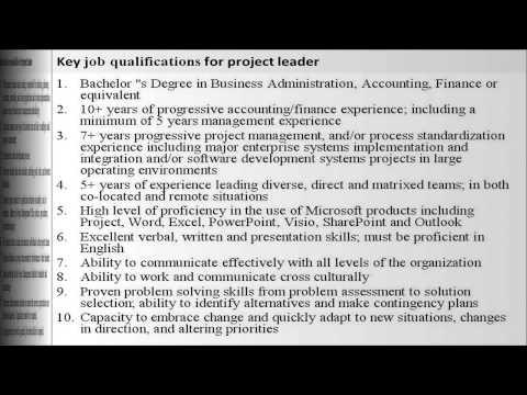 Project leader job description