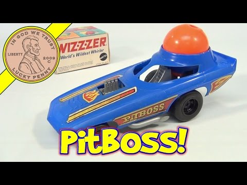 Pit Boss Spin Buggy Dragster Car and Orange Wiz-z-zer Top, Mattel Toys - Wizzzer