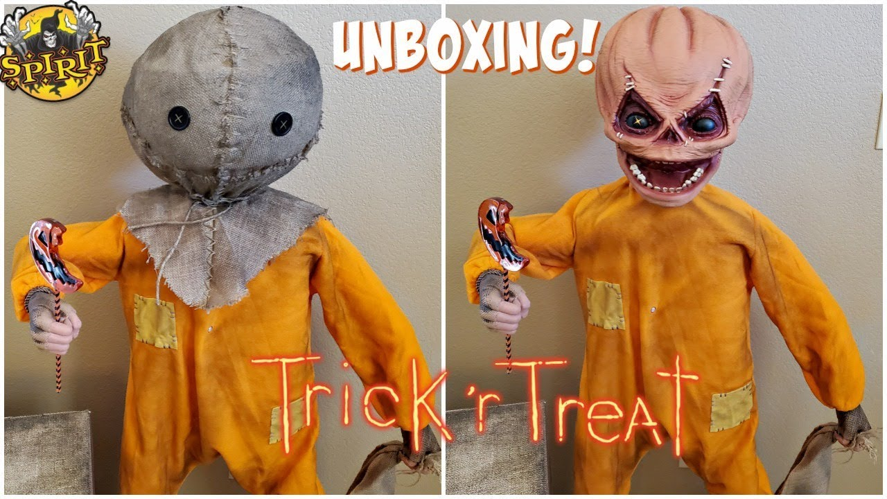 Unboxing Halloween 2020 Mask 4.3 SAM ANIMATRONIC TRICK 'r TREAT SPIRIT HALLOWEEN UNBOXING 2019