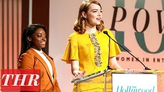 Emma Stone & Simone Biles Surprise 3 Girls With Scholarships at Women in Entertainment 2016 | THR