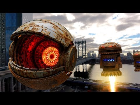 Pacman Giant Robot Over New York City