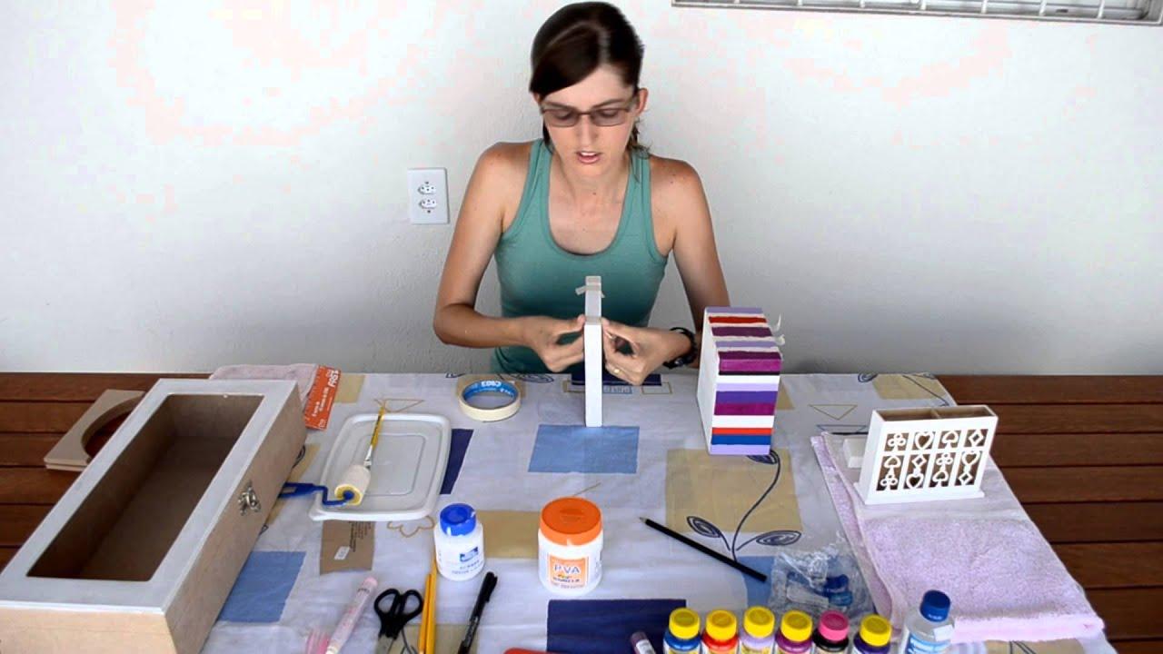Como fazer uma caixa de MDF listrada Fazendo Arte parte 2   #2A376C 1920x1080