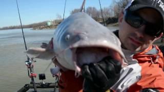 Missouri river blue catfish winter fishing drone footage