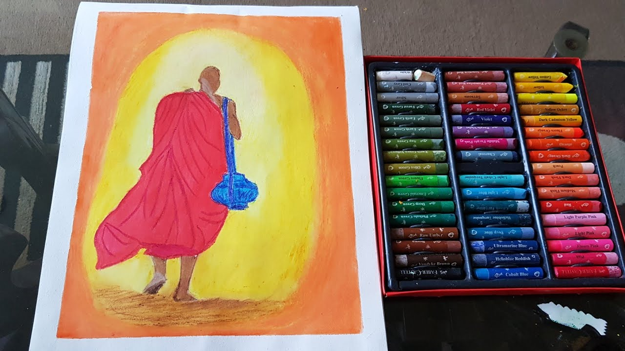 How To Paint A Walking Monk With Oil Pastels Art Journal Tuesday Oil Pastel Painting Step By Step