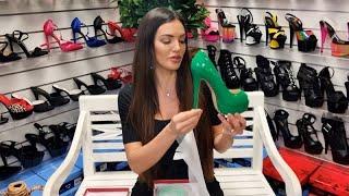 Amanda Unboxes VOCOSI Green 6 Inch Open Toe High Heel Platform Shoes Pumps With Test Walking