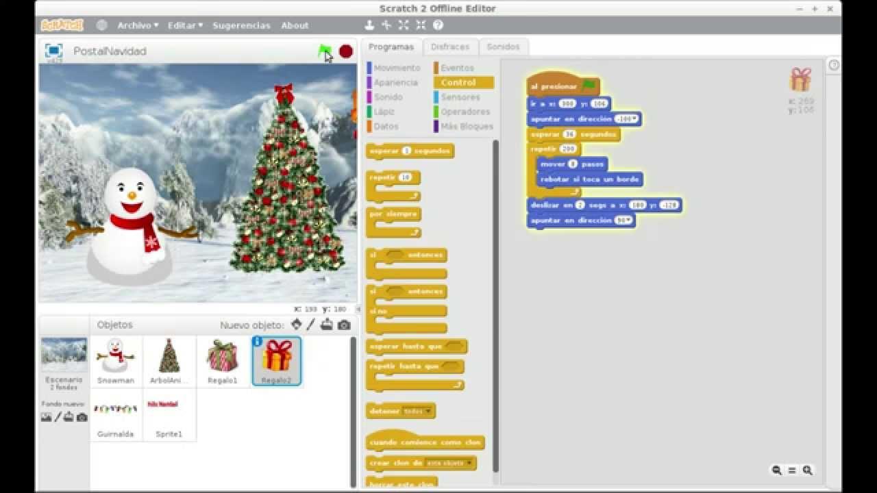 Programa Postales De Navidad.Taller De Postales De Navidad Animadas Con Scratch
