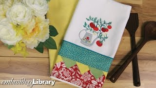 Embroidered Tea Towel with Bunting