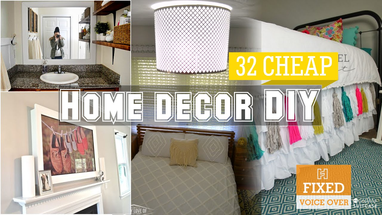 32 cheap home decor diy ideas new v o youtube for Cheap home decor ideas