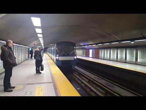Sortie du métro de Montréal STM la ligne 5 bleue tout le trajet MR-73