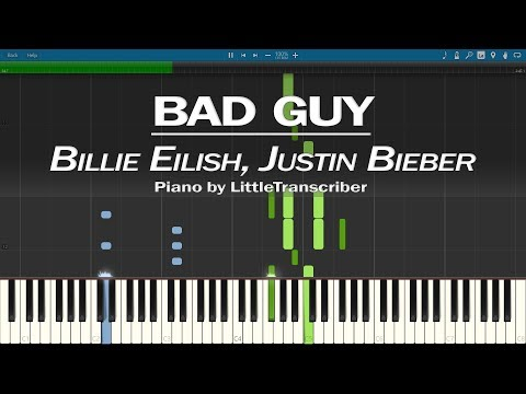 Billie Eilish - Bad Guy (Piano Cover) With Justin Bieber Synthesia Tutorial By LittleTranscriber