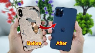 How To Turn iPhone Xs Max Into An iPhone 12 Pro Max - Restoration Destroyed Phone