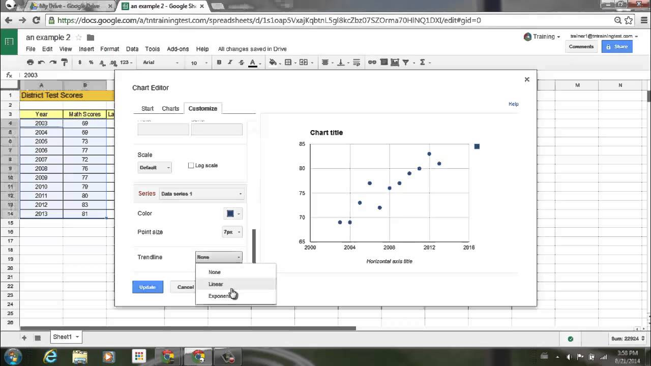 Add trendlines to scatter plot line column and bar charts in add trendlines to scatter plot line column and bar charts in google sheets youtube ccuart Image collections