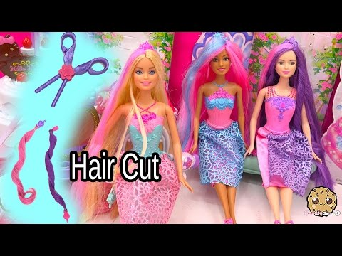 3 Endless Hair Kingdom Barbie Dolls Get Clip Extenstions And Hair Cut - Toy Unboxing Video