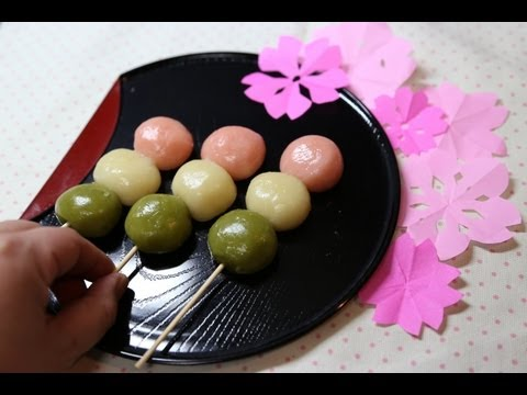 "How To Make ""DANGO"" Japanese Sweet Dumplings 花見の三色だんごの作り方"