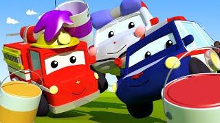 Die Stadt anmalen - Lerne mit den kleinen Trucks 👶 🚚 Lehrreiche Cartoons für Kinder