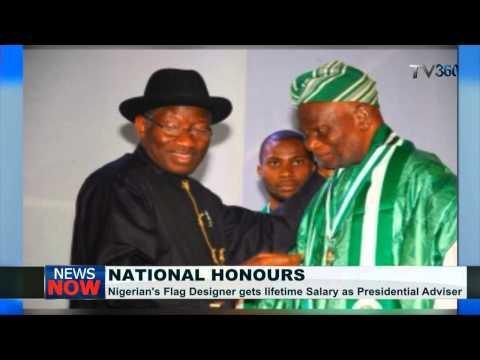 President Jonathan honours Nigerian flag designer with lifetime employment