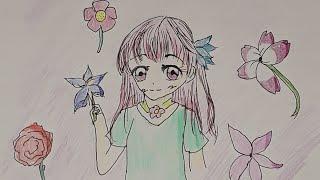 그림/예쁜 꽃배경 그림 그리기