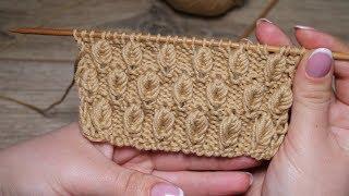 Узор «Объёмные листики» спицами | «Volume leaves» knitting pattern