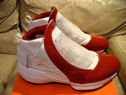 Nike Air Jordan 19 XIX Midwest Release 2004 Patent Leather Red White Chrome nice condition size 13 - YouTube