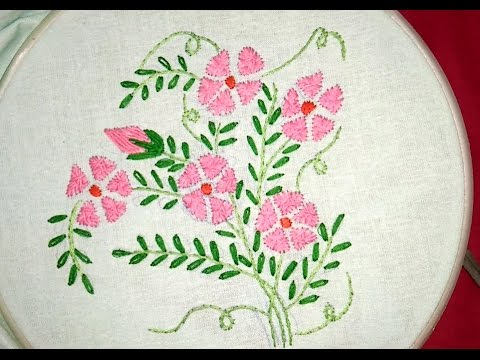 04e39c2b91e8 hand embroidery  flower with simple stitch - YouTube