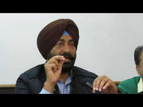 Aam Aadmi Party leader Sukhpal Singh Khaira addressing the media in Chandigarh.