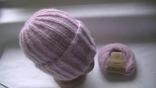Вязание шапки спицами.