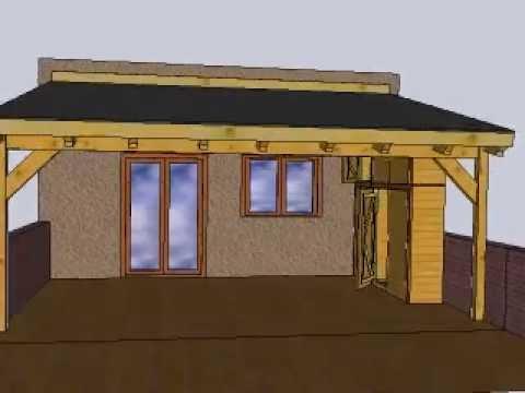 Dise o de porche con teja asfaltica o ceramica armario y for Techos de teja para terrazas