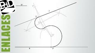 Enlazar dos rectas con dos arcos, dado el radio de uno y los puntos de enlace en rectas.