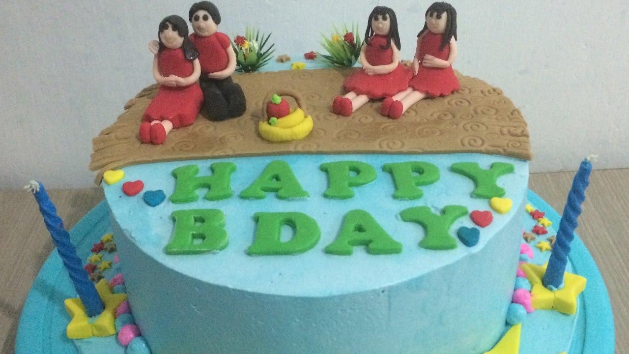 Birthday Cake Design For Papa : Happy Family Cake Decorating Half Fondant Icing - YouTube