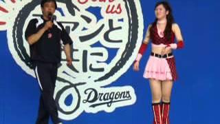 チアドラゴンズの古田真緒さんと斉藤舞子さんの即興ダンス対決です。
