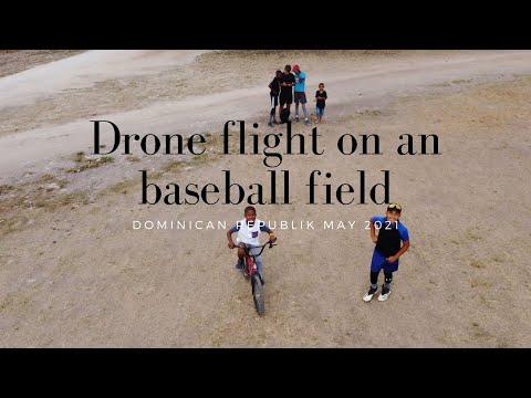 Drone flight on a baseball field