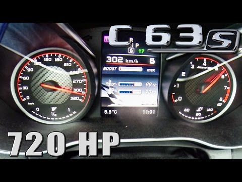 Mercedes C63 S AMG 720 HP ACCELERATION 0-302 km/h by AutoTopNL