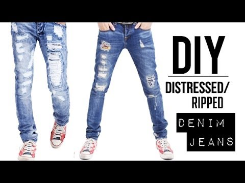 HOW TO: DISTRESSED DENIM JEANS (EASY) | DIY TUTORIAL | JAIRWOO ...