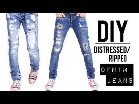 HOW TO: DISTRESSED DENIM JEANS (EASY) | DIY TUTORIAL | JAIRWOO