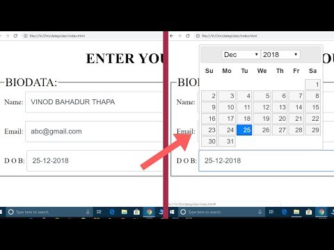 JQuery DatePicker In One Video | Change Date Format Dd-mm-yy | Change Month And Year Easily